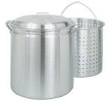Bayou Classic All-Purpose Aluminum Stockpot with Steam and Boil Basket
