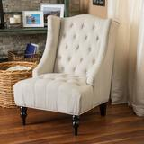 Great Deal Furniture Wingback Button-Tufted Fabric Accent Chair