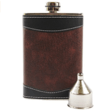 Primo Liquor Flasks Stainless Steel Primo Hip Flask Gift Set (8 oz.)