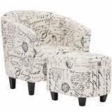 BEST CHOICE PRODUCTS Contemporary Upholstered Barrel Accent Chair with Ottoman