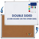 Navy Penguin Double-Sided Whiteboard/Cork Board Set (24 Inch by 18 Inch)
