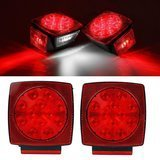Partsam Submersible Square Red White LED Stop Turn Tail License Brake Trailer Light kit