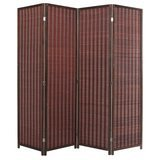 MyGift Decorative Freestanding Bamboo 4-Panel Hinged Privacy Screen