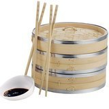 VonShef Premium 2 Tier Bamboo Steamer with Stainless Steel Banding