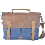 "Gootium Canvas Messenger Bag For 14"" Laptop With Genuine Leather"