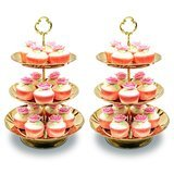 Imillet 3-Tier Round Stainless Steel Tray, Set of 2