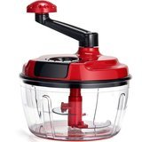 Momugs 8-Cup Red Food Processor, Manual Hand-Powered Crank