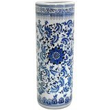 Oriental Furniture Floral Blue & White Porcelain Stand
