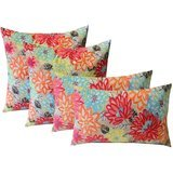 Resort Spa Home Indoor/Outdoor Pillows in Artistic Floral (Set of 4)