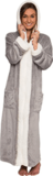 Silver Lilly Sherpa Trim Hooded Robe