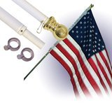 Star Spangled Flags 6-Foot Silver Brushed Aluminum No-Tangle Spinning Flagpole