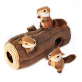 ZippyPaws Burrow Log and Chipmunks Squeaky Hide and Seek Dog Toy