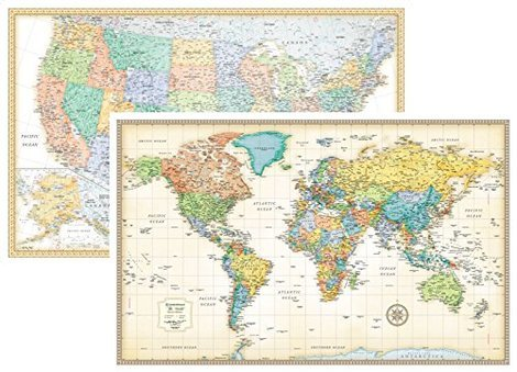 5 best world maps july 2018 bestreviews signature united states usa and world wall map set 50 x 32 gumiabroncs Gallery